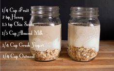 Overnight Oatmeal Recipe for quick breakfasts Almond Milk Recipes, Oatmeal Recipes, Healthy Breakfast Recipes, Healthy Snacks, Breakfast Smoothies, Breakfast Ideas, Healthy Breakfasts, Eat Breakfast, Healthy Drinks