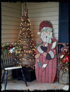 Rustic porch decor for Christmas