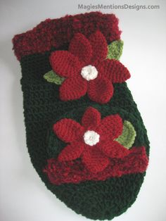 Newborn Baby Christmas Poinsetta Cocoon and Hat by MagiesMentions, $44.00