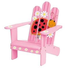 Backyard and Beyond Lily the Ladybug Adirondack Chair Lawn Chairs, Garden Chairs, Outdoor Chairs, Painted Kids Chairs, Hand Painted Furniture, Painting Furniture, Barbie Furniture, Kids Furniture, Kids Adirondack Chair