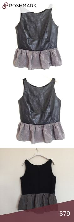 """AU black grey lambs leather peplum blouse Medium Amanda Uprichard black grey lambs leather peplum blouse, excellent condition. Genuine lambs leather front, silk peplum skirt. Bust darts and defining cut. Zipper back. Pit to pit 17"""", length 21"""", waist 14.5"""". Anthropologie Tops Blouses"""