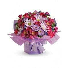 Gift Box Lavender Mixed Flowers Bouquet at Send Flowers. Send someone a mixed lavender daisies, mums, hot pink alstroemeria and mini pink rose gift bouquet. New Baby Flowers, Thank You Flowers, Love Flowers, Fresh Flowers, Cheap Flowers, Online Flower Shop, Send Flowers Online, Birthday Flower Delivery, Same Day Flower Delivery
