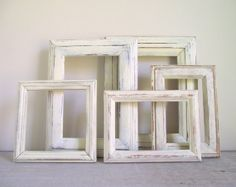 Set of 5  Distressed Frames / Open Frames Painted by gazaboo, $45.00