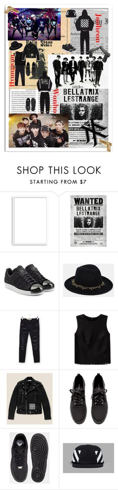 """""""Monsta X trespass"""" by hade-kpop ❤ liked on Polyvore featuring Bomedo, Old West, adidas Originals, ASOS, Current/Elliott, Theory, Off-White, H&M, NIKE and Rock Rebel"""
