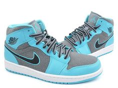 Nike Air Jordan 1 Mid Mens 633206-405 Gamma Blue Grey Basketball Shoes Size 10