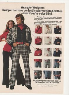 1974 Wrangler Wrelaters  Men's Leisure Wear...my dad wore these suits all the time! How could he?!