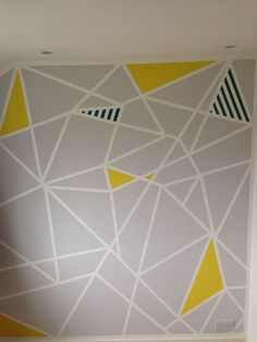 geometric paint design on study feature wall frog tape and patience - Wall Painted Designs