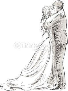 Vector Art : Wedding couple kiss. Newlywed. Vector sketch.