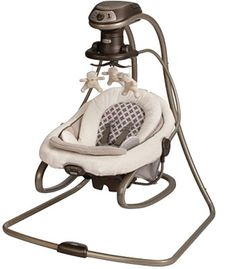 Graco Duet Soothee Swing & Rocker...  Seems pretty versatile - swing pivots to face different directions and can be removed to serve a s a bouncer. And, it plugs in!