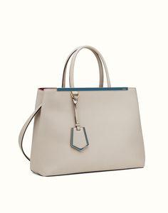 FENDI | REGULAR 2JOURS powder gray leather tote bag