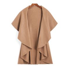 SheIn(sheinside) Khaki Lapel Dip Hem Loose Coat ($15) ❤ liked on Polyvore featuring outerwear, coats, shein, jackets, coats & jackets, khaki, lapel coat, short coat, beige coat and khaki coat