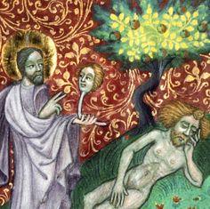 Creation of Eve. Speculum humanae salvationis ('Krumlovský sborník'), Bohemia ca. 1420. Praha, Knihovna Národního muzea, III B 10, fol. 2r - via discarding images
