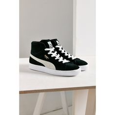 Puma Suede Classic Mid Jr Sneaker (7.215 ISK) ❤ liked on Polyvore featuring shoes, sneakers, puma footwear, suede leather shoes, puma sneakers, rubber sole shoes and traction shoes