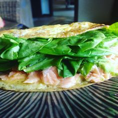My #breakfast this morning. Pretty #leanlowcarb #omelette: avocado leftover smoked salmon and of course spinach.  I did not intend to #lowcarb. I was supposed to add I a serving of quinoa. I don't do well without #carbs.  Trying to reduce the inflammation in my body to reduce #pain. #dairyfree #glutenfree #lifewithoutcheese #lifestylechange #weightloss #health #wellness #fitness #wecandothis working my #KIMStrategy Join #teamMirrorWatching