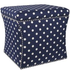 Custom Upholstered Nail Button Storage Ottoman