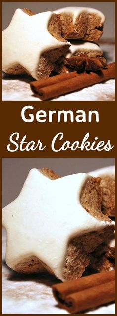 German Star Cookies, also known as Zimtsterne Cinnamon Cookies are a wonderful cookie for Christmas. They're crisp, chewy and spiced with all things nice! Naturally Gluten - Free too! | Lovefoodies.com