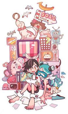 Art by 손털* Arte Do Kawaii, Kawaii Art, Cartoon Art Styles, Cute Art Styles, Character Design References, Character Art, Character Concept, Art Anime, Anime Chibi