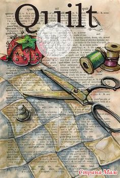 6 x 9 Print of Original, Mixed Media Drawing on Distressed, Dictionary Page This drawing of a quilt and sewing tools is drawn in sepia ink and Book Page Art, Book Art, Art Journal Pages, Art Pages, Art Journals, Collages D'images, Altered Books Pages, Patron Vintage, Newspaper Art
