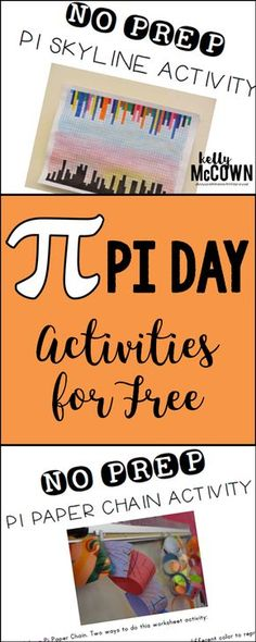 These 30+ Pi Day Activities are a guide for you as you plan Pi day in your classroom. There is a list of activities as well as three FREE activities included in the packet.  Included in this ACTIVITY PACKET are:   -30+ activities for Pi Day  -concept development activities for grades K-12  -activities with NO PREP  -Pi Day Word Scramble worksheet and answer key included  -Pi Day Paper Chain NO PREP worksheet activity included  -Pi Day Skyline Graphing NO PREP activity included