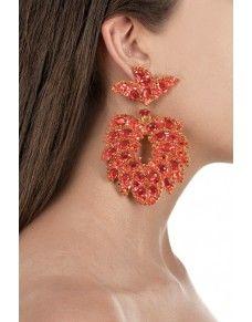 Pendientes filigrana en forma de flor y cristales