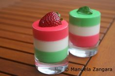 Panna Cotta Tricolore, in honour of the Italian flag - strawberry, vanilla and mint.