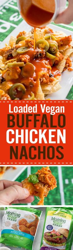 Quick and easy Loaded Vegan Buffalo Chicken Nachos to go with your football party appetizers. Vegan chicken with buffalo sauce, black beans, vegan cheese, cilantro, and jalapenos over tortilla chips. Vegan Appetizers, Appetizers For Party, Appetizer Recipes, Party Snacks, Vegan Foods, Vegan Dishes, Delicious Vegan Recipes, Vegetarian Recipes, Nacho Recipes