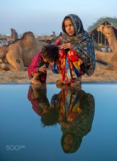 reflections - siblings from Pushkar, India. Kids Around The World, People Of The World, Raw Photography, Amazing Photography, India For Kids, Cultural Diversity, Largest Countries, Portraits, Rajasthan India