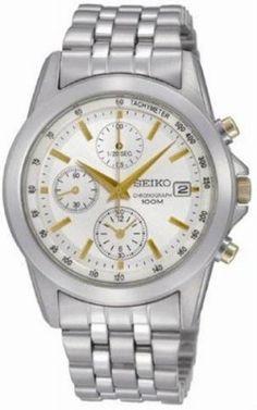Relógio Seiko SNDC11 Two Tone Stainless Steel Chronograph White Dial Watch #Relogio #SeikoTwo
