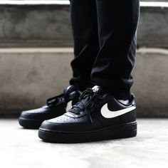 new concept 8c030 efa6f Buy Premium Mens and Women Nike Air Force 1 Low Black White Swoosh online.