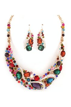 Beautiful Colorful Necklace & Earrings