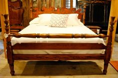 Tiger Maple Nantucket Thistle Bed with Blanket-rail and Footboard copied from a 19th century original.