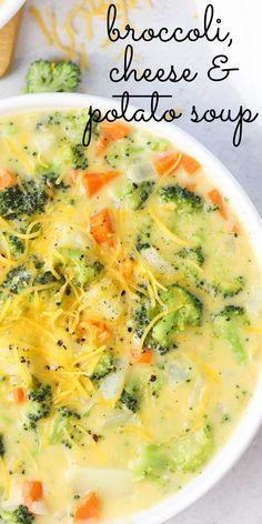 Broccoli Potato Cheese Soup, Broccoli And Potatoes, Broccoli Soup Recipes, Best Soup Recipes, Healthy Soup Recipes, Chili Recipes, Vegetarian Recipes, Cooking Recipes, Broccoli Salad