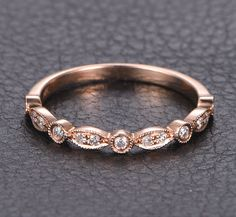 Half Eternity Art Deco Milgrain .15ct Diamonds 14K Rose Gold Wedding Band Ring #LOGR #WithDiamonds