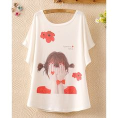 Cartoon Girl Print Casual Scoop Neck Batwing Sleeve T-Shirt For Women