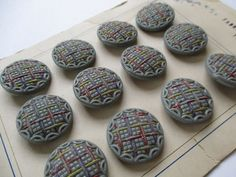 Vintage Czech glass buttons on original sales card. Handpainted textured grey. 22 mm.