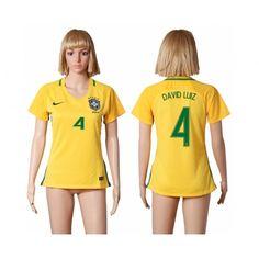Brasilien Trøje Dame 2016 #David Luiz 4 Hjemmebanetrøje Kort ærmer,208,58KR,shirtshopservice@gmail.com