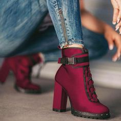 Burgundy red boots, - New In Tops Red High Heel Boots, Red Boots, Heeled Boots, Bootie Boots, Shoe Boots, High Heels, Platform Ankle Boots, Pretty Shoes, Beautiful Shoes