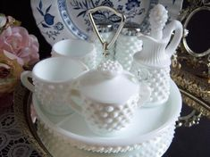 Vintage Fenton/ Hobnail White Milk Glass Vase With Fluted and Ruffled Rim Height 7 Width 5 Excellent Condition No chips or cracks Item # 96216 Milk Glass Vase, Glass Tray, Sauce Barbecue, Condiment Sets, Fenton Glass, Cream And Sugar, Glass Collection, Decoration, Tea Cups