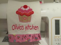 Child Size cupcake tea towel in red tan and pinks by WindaBobbin, $17.00    I'd love a full size of this! cute!