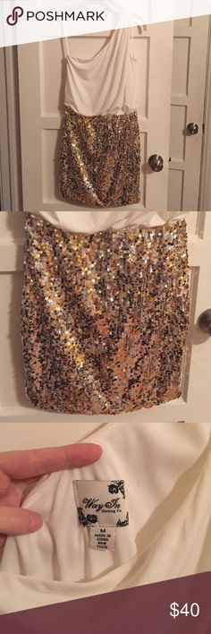 Ivory and Gold Sequin Dress Pencil skirt sequined bottom and flowy Ivory top half. Worn twice, in amazing condition! Make an offer! Nordstrom Dresses Mini