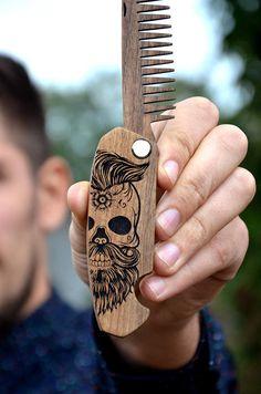 Christmas Boyfriend Gift Sugar Skull Beard Hair Comb Engraved
