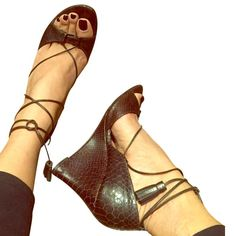Embossed Brown Leather Lace-Up Wedge Heels 7.5
