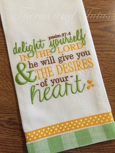 Kitchen Towel Embroidered with Bible Verse by elainestiarasntutus