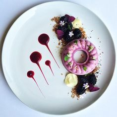 Raw Vegan Blackberry Cheesecake, Dates & Walnut Crumbles, Blackberry, White Chocolate, Berry Gel, & Dried Persian Rose. ✅ By - @royalebrat ✅   #ChefsOfInstagram  (at http://ChefHeart.com)