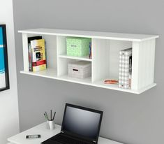 The wall mounted shelving hutch is a great practical and stylish addition to your entranceway, hallway, bedroom or any room in the house! 2 Shelves in the center and vertical Storage Areas on each side provide ample storage, includes hardware to mount on wall. Laminated in double-faced durable melamine which is stained Living Room Furniture Layout, Office Furniture Stores, Furniture Deals, Den Furniture, Online Furniture, Furniture Movers, Steel Furniture, White Furniture, Furniture Design