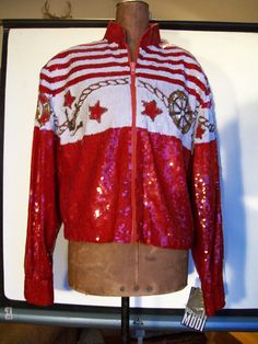 New Vintage Sequin Nautical Bomber Jacket, Modi, with Tags, Silk 1980's Retro Coat, Cropped, Red White, Stunning, Sequined, Size Small 6-8 by LucysLuckyDeals on Etsy