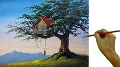 Acrylic Landscape Painting in Time-lapse / Tree House / JMLisondra Canvas Painting Tutorials, Acrylic Painting Lessons, Painting Videos, Learn Art, Learn To Paint, Beginner Painting, Art For Art Sake, House Painting, Art Tutorials