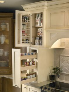 Cabinet & Countertop Showcase Available at Lowe's -- this shows the storage in the built in