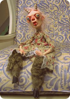 lowbrow art doll ooak one of a kind goat girl by mealy monster land, via Etsy.