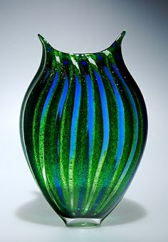 """Aventurine Foglio"" Art Glass Vessel Created by David Patchen"